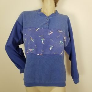 Vintage sports themed pullover top with buttons